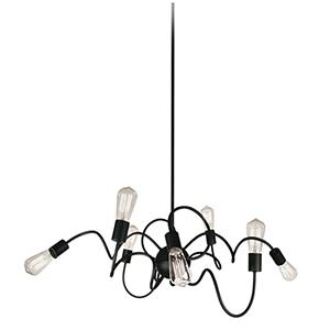 Waitsfield Matte Black 40-Inch Eight-Light Pendant