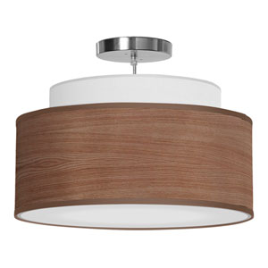 Abba Walnut Stained Veneer 20-Inch Two-Light Pendant