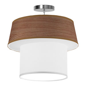 Clive Walnut Stained Veneer 18-Inch One-Light Pendant