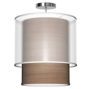 Lumiere Walnut Stained Veneer 16-Inch One-Light Pendant