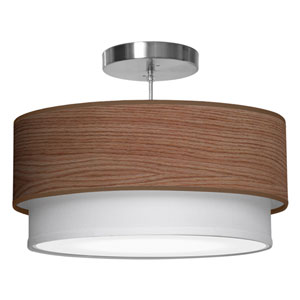 Luther Walnut Stained Veneer 16-Inch One-Light Pendant