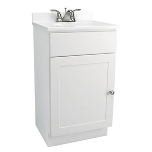 Vanity Combo 18 Inch White Bathroom Cabinet With Solid Marble Top