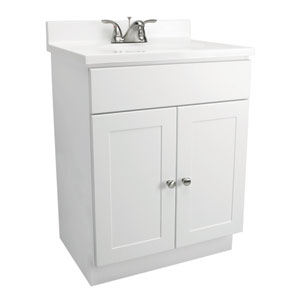 Vanity Combo 24-Inch White Vanity Bathroom Cabinet with Solid White Marble Top