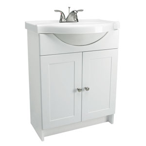 Vanity Combo 24-Inch White Vanity Bathroom Cabinet with Solid White Marble Belly-Bowl Top