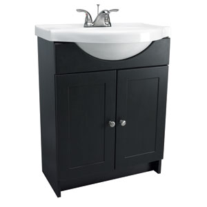 Vanity Combo 24-Inch Espresso Vanity Cabinet with Solid White Marble Belly-Bowl Top