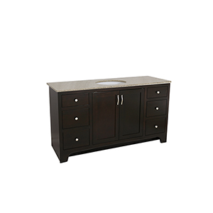 Ventura 2-Door 6-Drawer Vanity 48x21 with Locking Drawer, Espresso