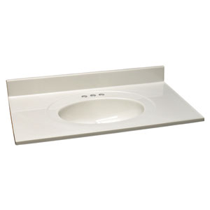 Richland White on White Single Bowl Cultured Marble Vanity Top, 37-Inch by 19-Inch