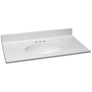 Claremont Solid White Single Bowl Cultured Marble Vanity Top, 25-Inch by 19-Inch