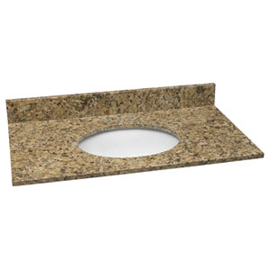 Concord Venetian Gold Single Bowl Granite Vanity Top, 25-Inch by 22-Inch