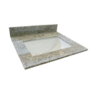 Granite Single Bowl Vanity Top 25 x 22, Kashmir White