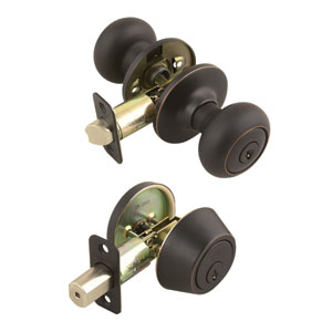 Cambridge Two-Way Latch Deadbolt and Entry Door Knob, Adjustable Backset, Oil Rubbed Bronze Finish