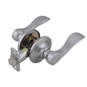 Springdale Universal Latch Passage Door Handle, Adjustable Backset, Satin Nickel Finish