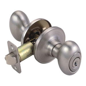 Egg Two-Way Latch Entry Door Knob, Adjustable Backset, Satin Nickel, Satin Nickel Finish