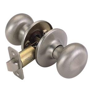 Cambridge Two-Way Latch Passage Door Knob, Adjustable Backset, Satin Nickel Finish