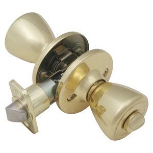 Tulip Two-Way Latch Privacy Door Knob, Adjustable Backset, Polished Brass Finish