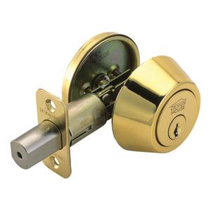 Single Cylinder Two-Way Latch Deadbolt, Adjustable Backset, Polished Brass Finish
