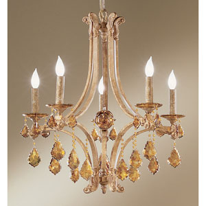 Mediterranean Leather Five-Light Chandelier with French Pendalogs Tortoise Shell Crystal Detail