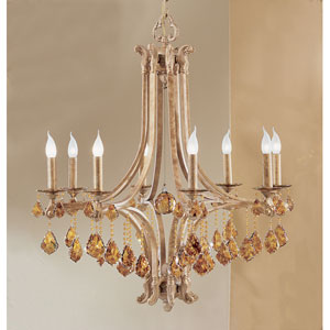 Mediterranean Leather Eight-Light Chandelier with French Pendalogs Tortoise Shell Crystal Detail