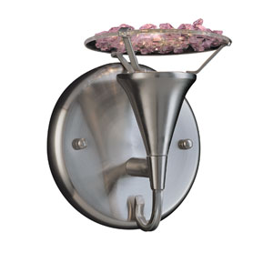 Crystal Lake Satin Nickel One-Light Wall Sconce with Pink Crystal Accents