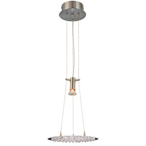 Crystal Lake Satin Nickel One-Light Pendant with Crystal Accents