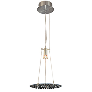Crystal Lake Black Crystal Satin Nickel One-Light Pendant