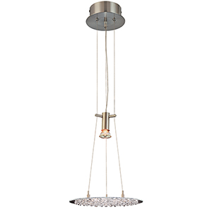 Crystal Lake Clear Crystal Satin Nickel One-Light Pendant