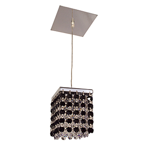 Bedazzle Black and Clear Chrome One-Light Mini Pendant