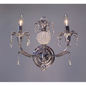 Sharon Chrome Two-Light Wall Sconce with Crystal Accents