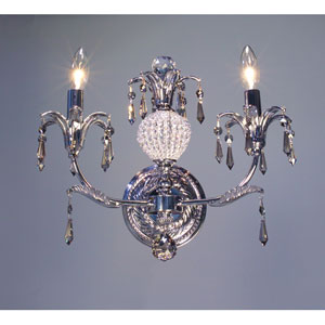 Sharon Chrome Two-Light Wall Sconce with Smoked Crystal Accents