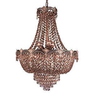 Regency II Roman Bronze Three-Light Chandelier with Golden Teak Strass Crystals