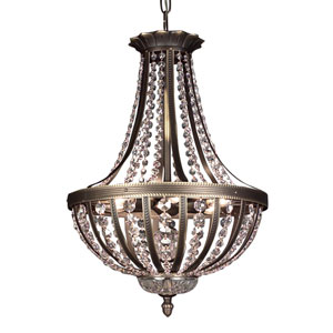Terragona Roman Bronze Six-Light Pendant with Swarovski Spectra Crystal Accents