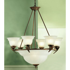 Roma English Bronze Nine-Light Chandelier
