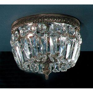 Crystal Baskets Roman Bronze Two-Light Flush Mount