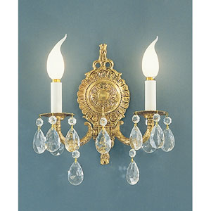 Barcelona Olde World Bronze Two-Light Wall Sconce with Swarovski Spectra Crystal Accents