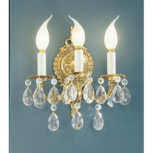 Barcelona Olde World Bronze Three-Light Wall Sconce with Swarovski Spectra Crystal Accents