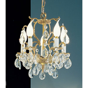 Barcelona Olde World Bronze Five-Light Mini Chandelier with Crystalique Accents