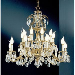 Barcelona Olde World Bronze Eighteen-Light Chandelier with Crystalique Accents