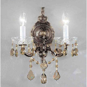 Madrid Imperial Roman Bronze Two-Light Wall Sconce with Strass Golden Teak Crystal Accents