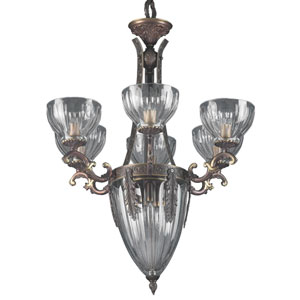 Warsaw Roman Bronze Nine-Light Chandelier