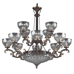 Warsaw Roman Bronze Fourteen-Light Chandelier