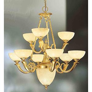 Valencia Gold Matte Nine-Light Chandelier