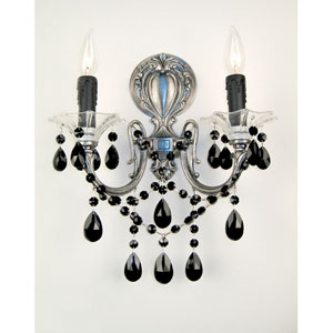Via Venteo Millenium Silver Two-Light Wall Sconce with Black Crystal Accents