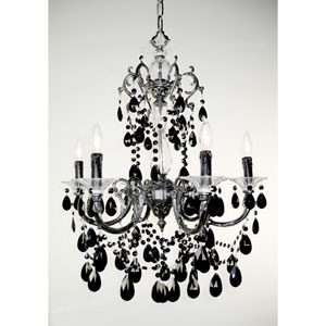 Via Venteo Ebony Pearl Six-Light Chandelier with Black Crystal Accents