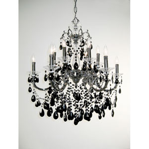 Via Venteo Ebony Pearl Twelve-Light Chandelier with Black Crystal Accents
