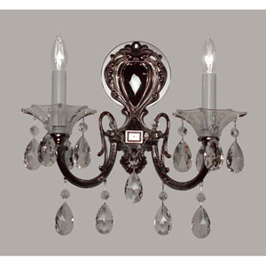 Via Lombardi Ebony Pearl Two-Light Wall Sconce with Crystalique Plus Accents