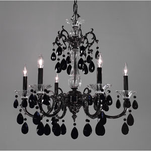 Via Lombardi Ebony Pearl Six-Light Chandelier with Black Crystal Accents