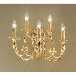 Princeton 24k Gold Plate Five-Light Wall Sconce