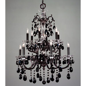 Via Lombardi Ebony Pearl Twelve-Light Chandelier with Black Crystal Accents