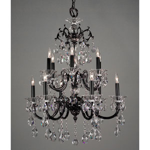 Via Lombardi Ebony Pearl Twelve-Light Chandelier with Swarovski Spectra Crystal Accents