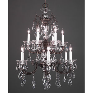 Via Lombardi Roman Bronze Twelve-Light Chandelier with Swarovski Spectra Crystal Accents
